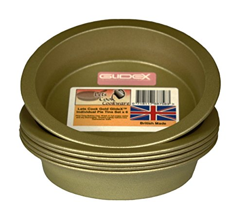 Individual 4 Inch Mini Pie Dishes/Sandwich Cake Tins, Set of 6, British Made with Gold GlideX Non Stick by Lets Cook Cookware