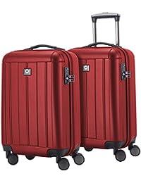 HAUPTSTADTKOFFER - Kotti - Set de 2 Valises bagages à main Trolley 56 x 35 x 21 cm, 4 roues, TSA, Bordeaux