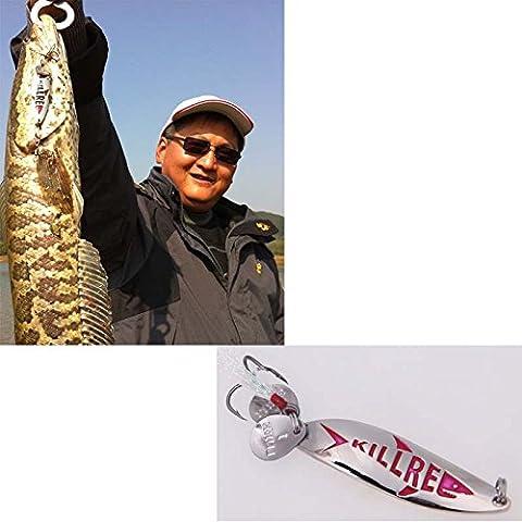 leryjoy (TM) UK Nuovo Design in metallo pesca lure Hard Bait Lustrini Cucchiaio Rumore Paillette pesca con piuma gancio Treble 5,5cm/10g Fishing Tackle