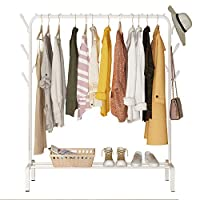 YAYI Drying Rack Metal Garment Rack Freestanding Hanger Bedroom Clothing Rack With Lower Storage Shelf for Boxes Shoes And Side Hooks