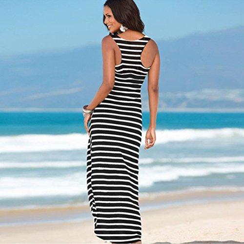 FEITONG Damen Sommer Boho Maxi Abendkleid Streifen Strand Sundress Kleid Schwarz