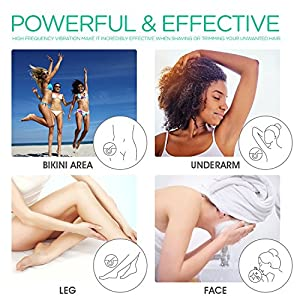 VOYOR Electric Lady Shaver Ladyshave for Women Ladies Shavers Rechargeable Bikini Trimmer Woman Wet and Dry Hair Trimmer for Legs Underarm Bikini & Body, 4 in 1 Set with Face Brush ES400