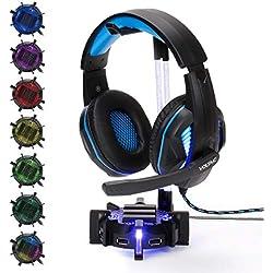 ENHANCE Support Casque Gaming avec Hub USB à 4 Ports, Eclairage LED de 7 Couleurs Réglables, Manche en Acrylique Flexible, Repose Casque Audio Universel pour Gamers - Base Légère, Idéal pour PC Bureau
