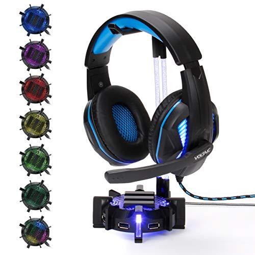 ENHANCE Gaming Headset Ständer Kopfhörerhalter mit 4-Port-USB-Hub, anpassbarer LED-Beleuchtung, flexiblem Acrylhals - universeller Aufhänger mit gewichteter Basis für die Desktop-Organisation