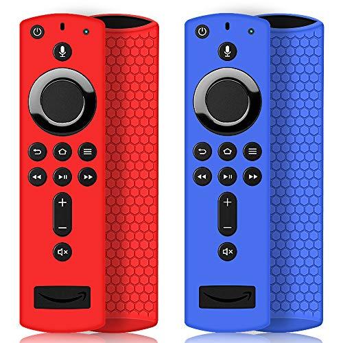 2 Pack Schutzhülle für Fire TV Stick 4K / 4K Ultra HD mit der Neuen Alexa-Sprachfernbedienung (2.Gen), Leichte rutschfeste Stoßfeste Silikon Fernbedienung Silikonhülle Cover Hülle (Rot & Blau)