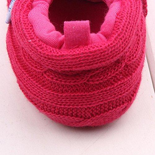 Saingace Bébés Filles Garçons Chaussures Sneaker Tricotées Chaussures Souples (12(12cm), Gris) Rose chaud