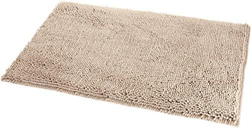 AmazonBasics - Badteppich, Shaggy-Design, rutschfest, Mikrofaser, 0,53 x 0,86 m, Beige
