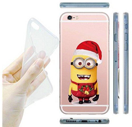 Coque iPhone 6s / Minions couvercle de gel de bande dessinée pour Apple iPhone 6s 6 / protecteur d'écran et écran chiffon par iCHOOSE / ours prise Elf de Noël