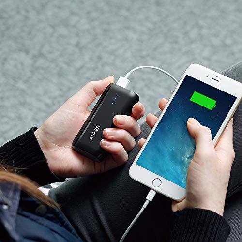 Anker Astro E1 5200mAh Mini Externer Akku Power Bank USB Ladegerät mit PowerIQ für iPhone 6s, 6, 6s Plus, Galaxy S6 S5 und weitere (Schwarz) - 2