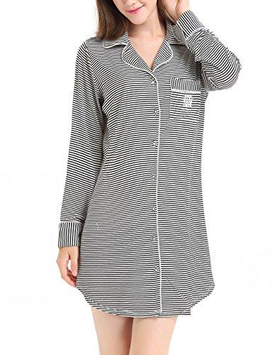 Flanell-nachthemd Kleid (NORA TWIPS Schlafanzugoberteile für Damen, Nachthemden für Damen, Damen Schlafanzug Set, Damen Viskose Nachthemd Knopfleiste Sleepshirt Alle(MEHRWEG) Jahreszeiten(Schwarz gestreift,L))