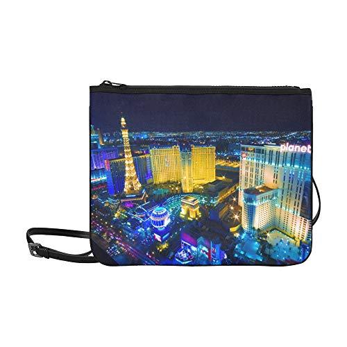 EIJODNL Las Vegas Avenue Nevada Usa Night Pattern Benutzerdefinierte hochwertige Nylon Slim Clutch Cross Body Bag Schultertasche -