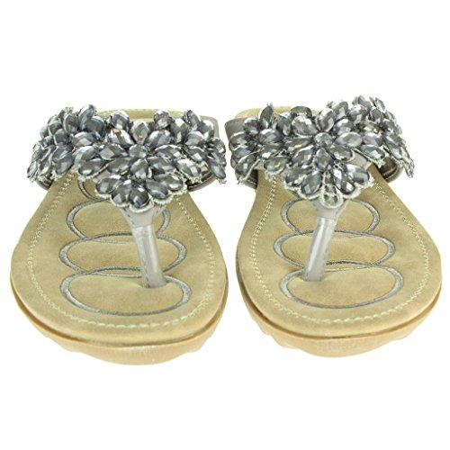 Frau Damen Diamante Wulstig Weiche Sohle Slip On Sommer Strand Open Toe Beiläufige Party Komfort Flache Sandale Schuhe Größe Grau