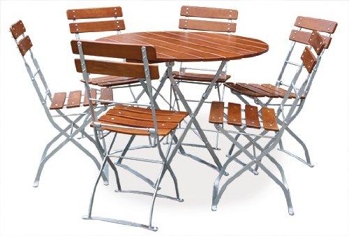 Biergartengarnitur 1x Tisch Ø100 cm & 6x Stuhl EuroLiving Edition-Classic ocker/verzinkt -