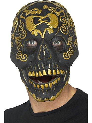 Smiffys Herren Deluxe Maskerade Totenkopf Maske mit beweglichem Kiefer, One Size, Gold, 45092
