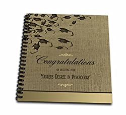3dRose Masters Degree in Psychology Graduation Congratulations, Caps on Gold - Drawing Book, 8 by 8-inch (db_172662_1)