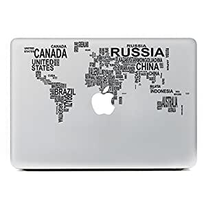 iCasso World Map Removable Vinyl Decal Sticker Skin for Apple Macbook Pro Air Mac 13 inch / Unibody 13 Inch Laptop 2
