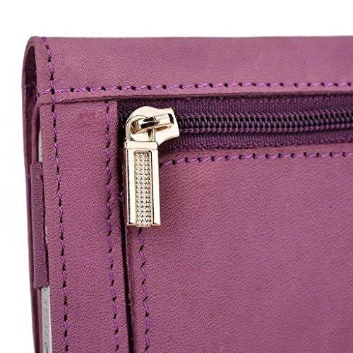 Kroo Pochette en cuir véritable pour téléphone portable pour Xolo q2000l Marron - marron Violet - violet