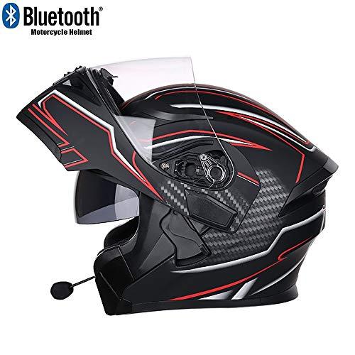 MTTKTTBD Bluetooth Motorradhelm Klapphelme,Integralhelm für Cruiser Chopper Moped Scooter,Motocrosshelme mit Antifogging Doppelvisier für Damen Herren Automatic Answer,ECE Zertifiziert