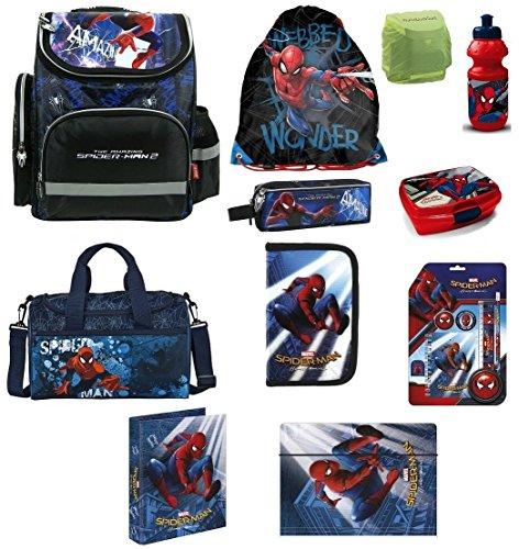 Familando Spiderman Schulranzen Set 16tlg. mit Federmappe Dose/Flasche Sporttasche Schreibtischauflage PL