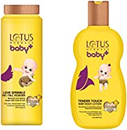 Lotus Herbals Baby+ Love Sprinkle No-Talc Powder, 100g and Tender Touch Baby Body Lotion, 200ml