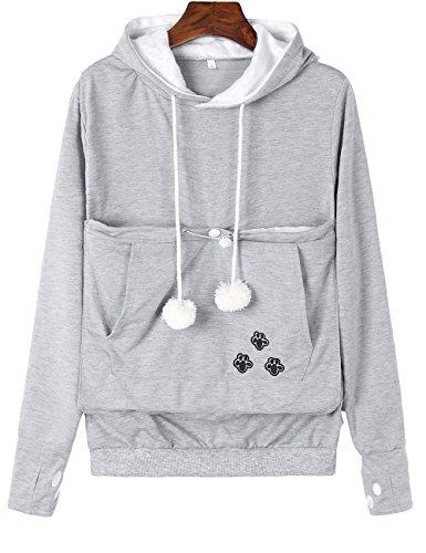Sexyshine Damen Kapuzenpullover mit großer Tasche für Hunde und Katzen - Grau - X-Groß