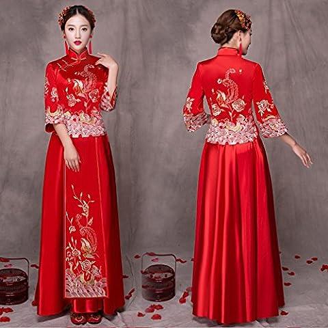 Xiu Wo Mariée Grosse Mm Grosse Taille Femme Enceinte Toast Taille Haute Robe de Mariage Chinoise Cheongsam Rouge,UNE,XXXL