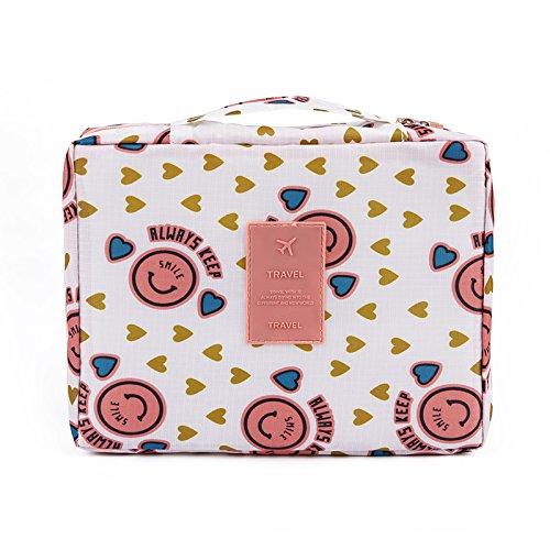 LULAN Neue Multifunktion Wasserdicht Oxford Tuch, Reisen, Paket, Doppel-waschtisch Tasche Beautycase Make-up-Tasche, 21*8*18 cm, Pink Smiley