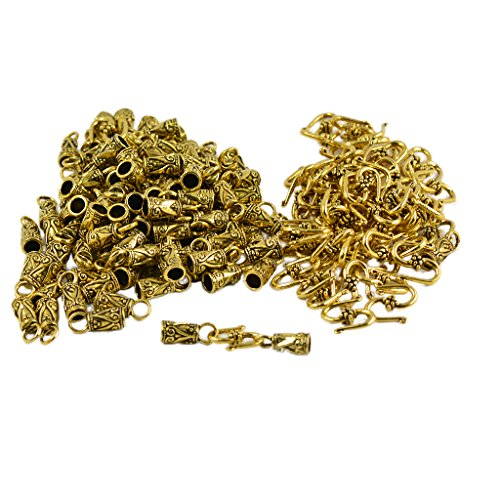 Homyl 30 Sets Antique Gold S Haken Endkappen Leder Schnur Legierung Schließe Schmuck Making