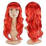 Asien neue Frauen lange lockige Kostüm Perücken Cosplay Kostüm Damen Perücke Party - rot (50CM)
