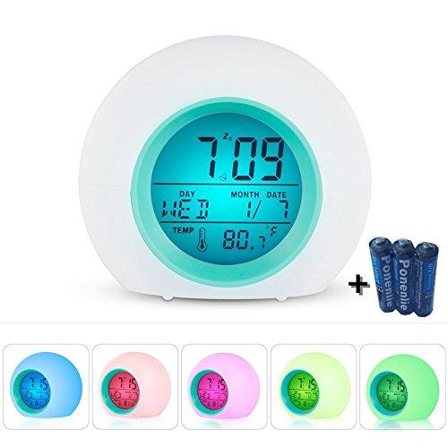 Wake Up Licht Wecker, Wake Up mit Natur Sounds, Smart Snooze, Digital Temperaturanzeige mit 7 Color Night Light für Kinder, Erwachsene & Teens (Weiß)