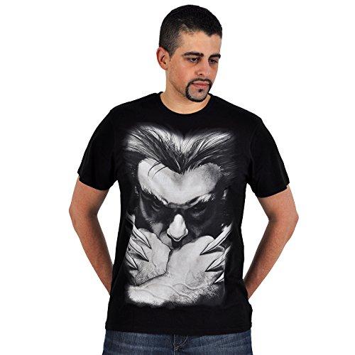 Wolverine - T-shirt Marvel del super eroe Wolverine con gli artigli - T-shirt Logan - Stampa frontale - Nero - L