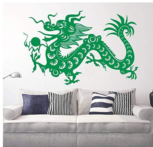 Vinyl Chinese Dragon Fantasie Maskottchen Symbol DIY Lucky Dragon Wohnkultur Wandbild Carving Self-adesivo Papier 57 * 87 cm ()