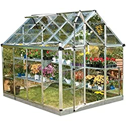 Palram 6x8ft Snap & Grow Silver Greenhouse, Clear Polycarbonate, Base Included