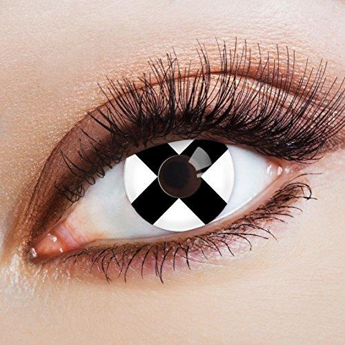 aricona Farblinsen Farbige Kontaktlinse Cross Over   – Deckende Jahreslinsen für dunkle und helle Augenfarben ohne Stärke, Farblinsen für Karneval, Fasching, Motto-Partys und Halloween Kostüme (Verschiedene Clown Kostüme)