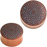 Chic-Net®, dilatatore per orecchio, in legno di zaffiro, con fiore celtico, colore turchese, con intarsio blu, unisex, per uo