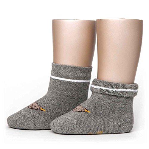Steiff Baby Jungen Vollfrottee Socken mit Teddy 17113 (74/80, Grau)