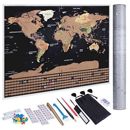 Anpro Mapa Mundo Raspado Oro Negro Bandera,Mapa Mundi
