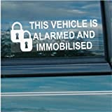 5 x Alarm and Immobiliser Fitted Stickers-PADLOCK DESIGN-Alarmed and Immobilised Security Warning Window Signs-Car,Van,Truck,Caravan,Motorhome,Lorry,Taxi,Minicab,Automobile