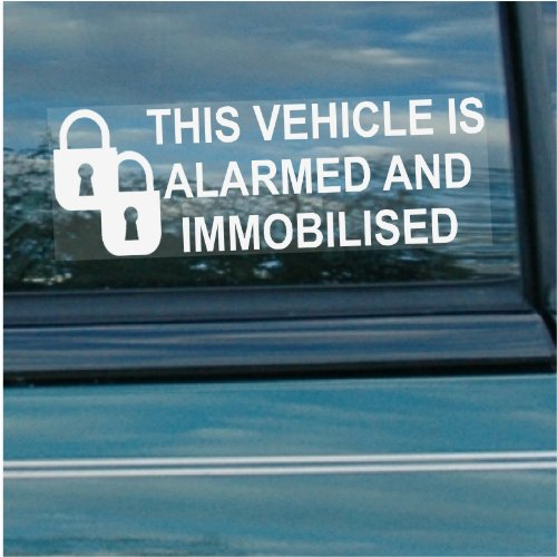 Platinum Place 5 x Alarm and Immobiliser Fitted Stickers-PADLOCK DESIGN-White on Clear-Internal Window Stickers-Security Warning Window Signs-Car,Van,Truck,Caravan,Lorry,Taxi,Minicab,Automobile