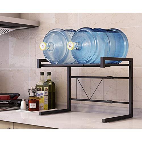 LIN HE SHOP Support de Four à Micro-Ondes, étagère pour Four de comptoir de Cuisine, étagère de Micro-Ondes en métal Stable, 2 Niveaux abjustables, pour l'organisation de la Cuisine (Couleur : Noir)