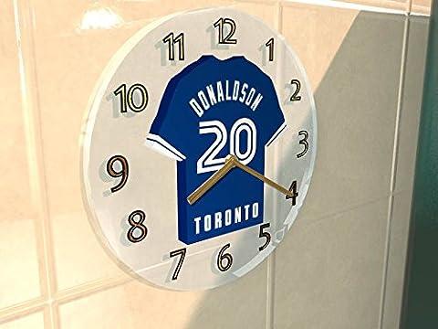 MAJOR LEAGUE BASEBALL - AMERICAN LEAGUE MLB JERSEY WALL CLOCKS - ANY NAME, ANY NUMBER, ANY TEAM - FREE PERSONALISATION !! (TORONTO BLUE