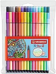 Premium Felt Tip Pen - STABILO Pen 68 Wallet of 30 Assorted Colours including 6 Neon