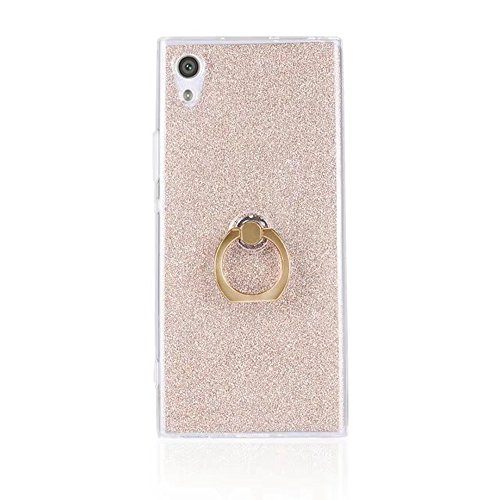 EKINHUI Case Cover Soft Flexible TPU Back Cover Case Shockproof Schutzhülle mit Bling Glitter Sparkles und Kickstand für Sony Xperia XA1 ( Color : Pink ) Gold