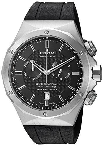Edox Men's 10107 3CA NIN Delfin Analog Display Swiss Quartz Black Watch