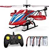 Helicóptero JJRC con control remoto, helicóptero JX02 de 4 canales con hélices laterales para mantener la altitud de vuelo lateral con 3 baterías en 18 minutos Resistencia al choque RC Toy (Rojo)