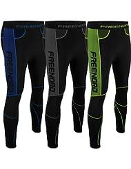 Powertech Evo - Mallas de running para hombre, color negro/verde, tamaño XXL