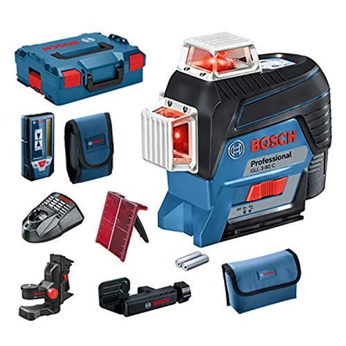 Bosch Professional GLL 3-80 C - Laserebene (Bluetooth-Verbindung, Halter, Empfänger, 1 Batterie 2 Ah, 12 V, Reichweite bis zu 30 m, in L-BOXX)