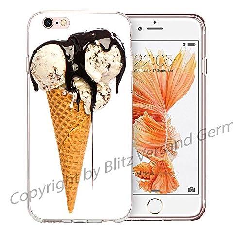 Blitz® KIRSCHE Schutz Hülle Transparent TPU Cartoon SAMSUNG Galaxy Vanille Eis mit Soße M9 Note 4