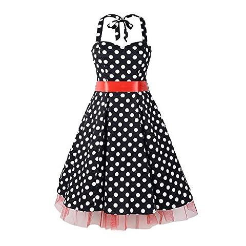 LUOUSE 'Rhya' Vintage Serenity Kleid im 50er-Jahre-Stil,BlackRed,L