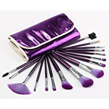 e-beshiny 16pcs Brochas Kabuki Pro bolsa de maquillaje cosméticos brochas kit con bolsa de color morado